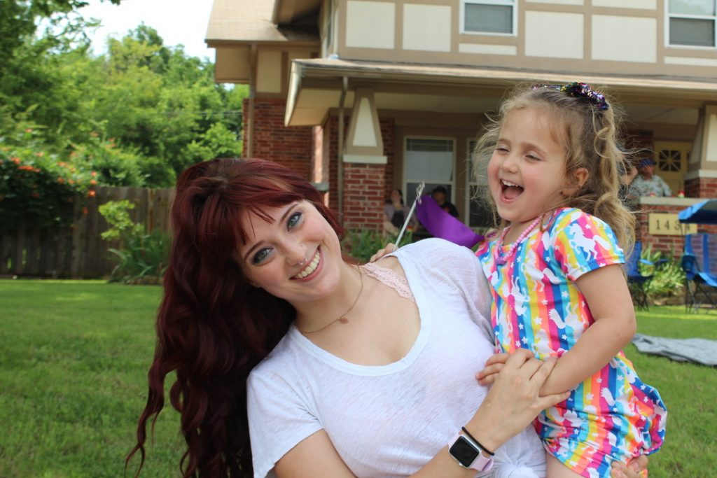 Jenni Jenkins at OKC Pride Parade with her daughter