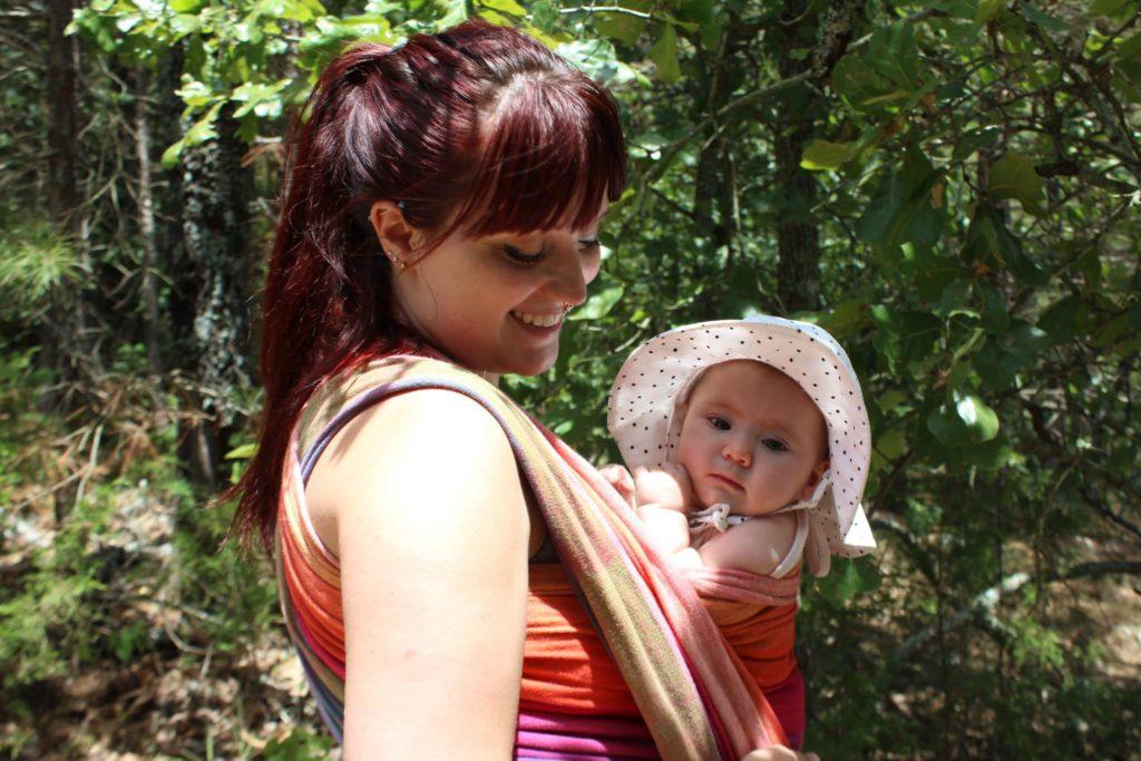 Oklahoma Birth Doula Jenni Jenkins hiking and babywearing daughter